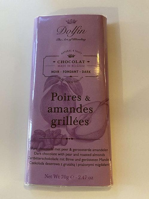 Tablette de chocolat noir poire Amandes grillées
