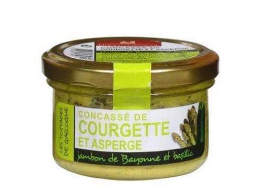 Concassé de courgette et asperge, jambon de Bayonne baslic