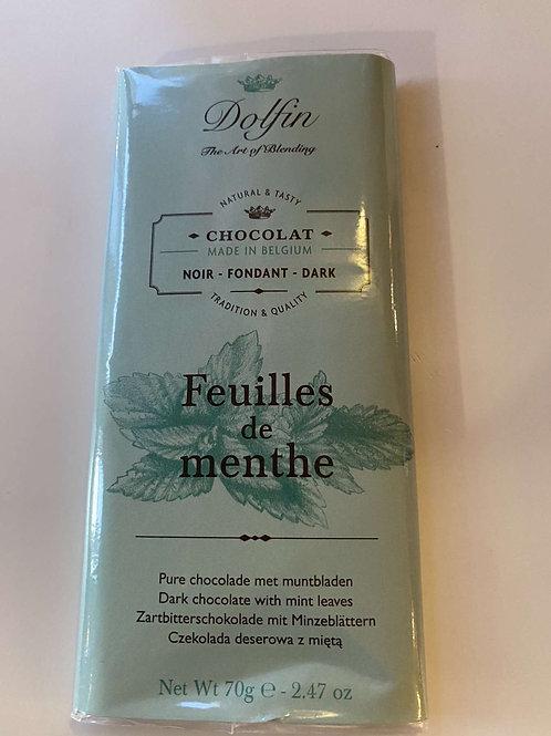 Tablette chocolat noir feuilles menthe