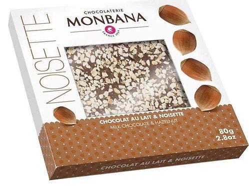 Tablette de chocolat lait et noisettes Monbana