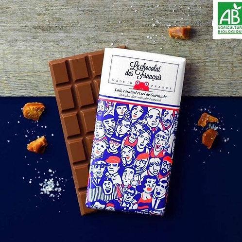 Tablette chocolat lait caramel et sel de Guérande