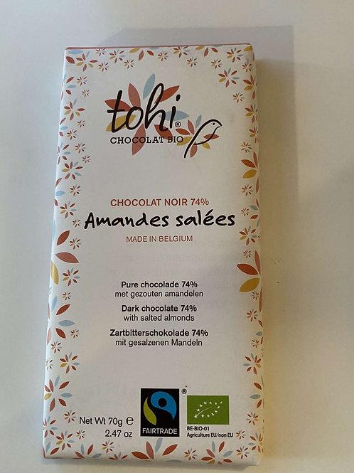 Tablette de chocolat bio noir amandes salées