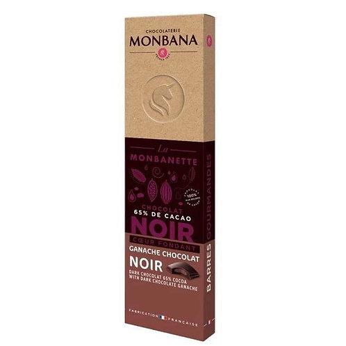 Barre chocolat noir 65% cacao ganache Monbana