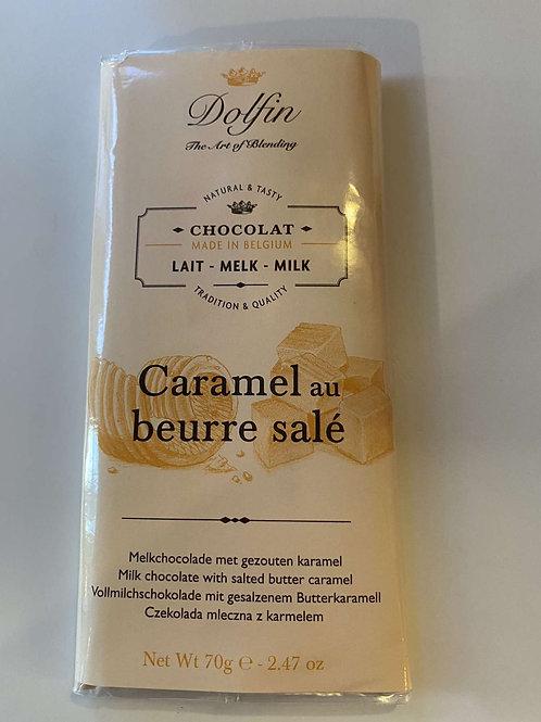 Tablette de chocolat lait caramel beurre salé