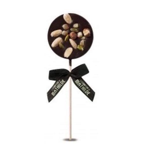 Grande sucette chocolat noir mendiant