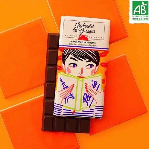 Tablette chocolat noir et éclats de noisettes