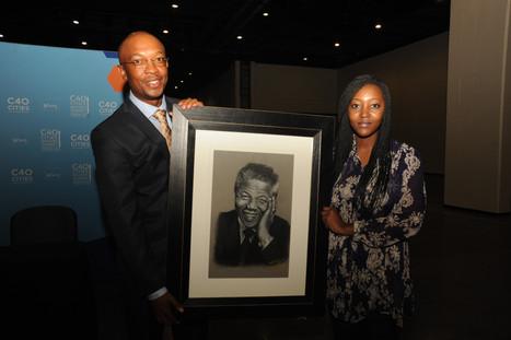 Former Mayor of Johannesburg Mr Parks Tau and Miss Kagiso Petsana.