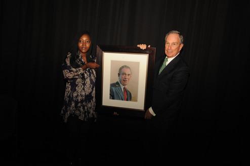 Michael Bloomberg and Kagiso Petsana in Johannesburg.