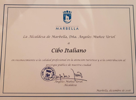 Certificate of Excellence 2018 for Cibo Italiano