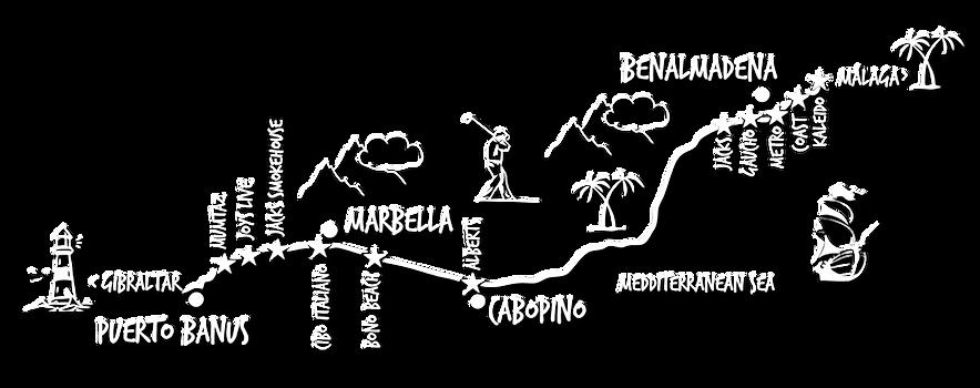 Mapa de restaurantes d Meto Grupo en Costa del Sol