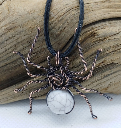 Copper Spiders with Howlite Bead