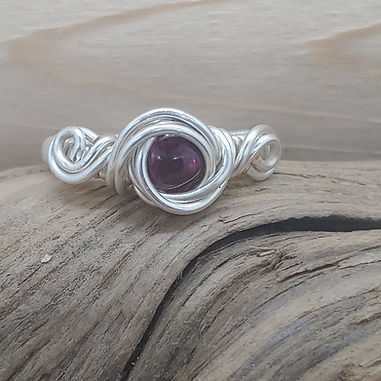 Red Garnet Wire Wrapped Ring