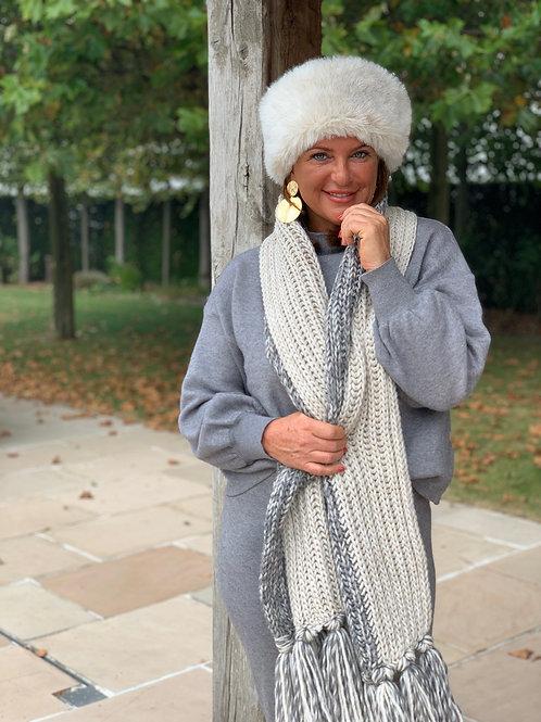 Grijs/Witte Sjaal