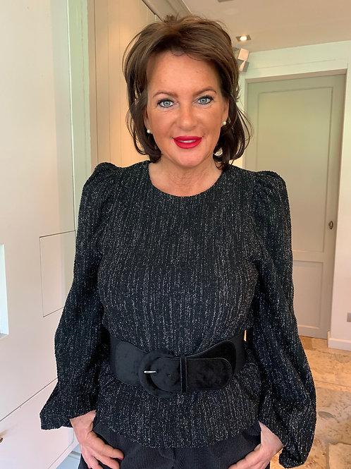 Glamwear Shirt Zwart Glitter