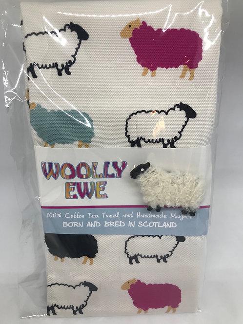 Woolly Ewe100% cotton tea towel and handmade magnet.