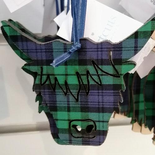 Tartan Highland coo face decoration