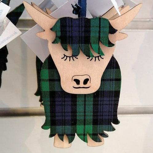 Tartan Highland Cow Decoration