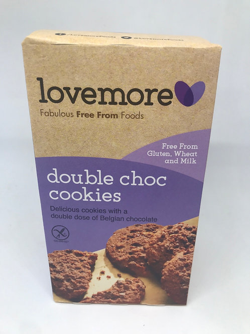 Double Choc cookies free from gluten wheat and milk