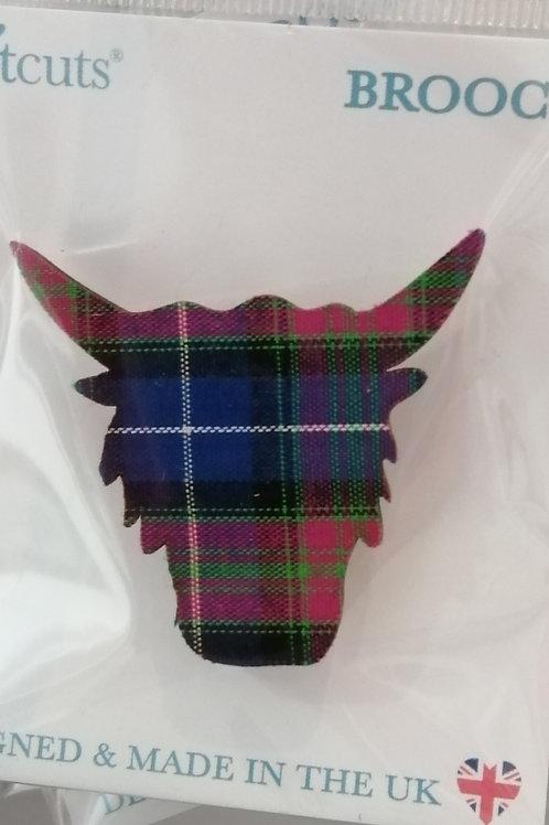 Tartan Highland coo face brooch