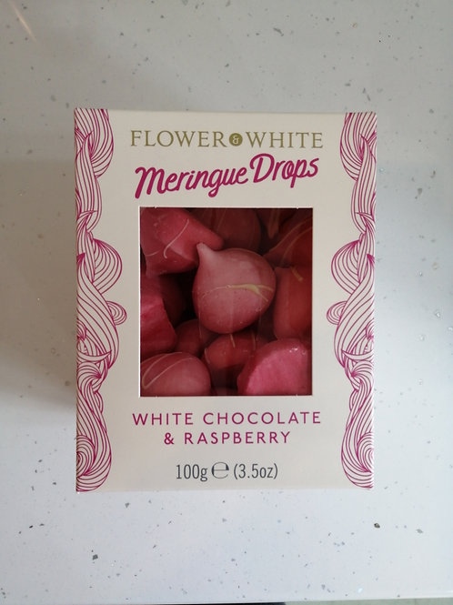 Meringue drops white choc and raspberry