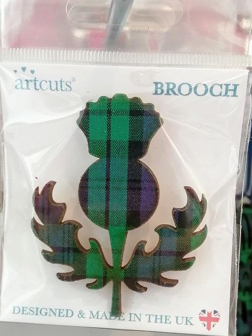 Tartan thistle brooch