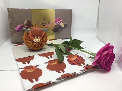 Highland cow tea-towel, Highland Cow pom-poms and box of chocolates