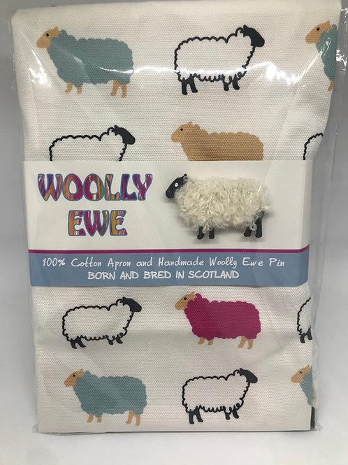 Woolly Ewe Apron and  woolly  Ewe Brooch.