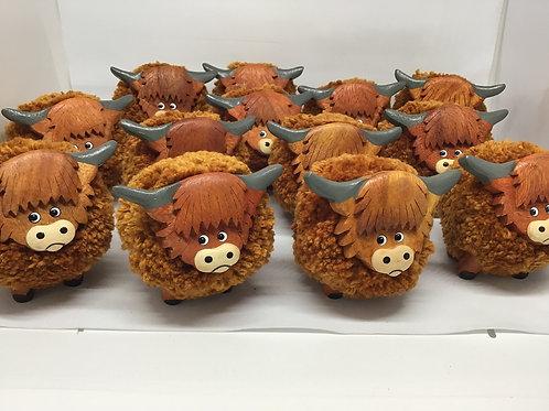 Highland Cow Pom-Pom ornament