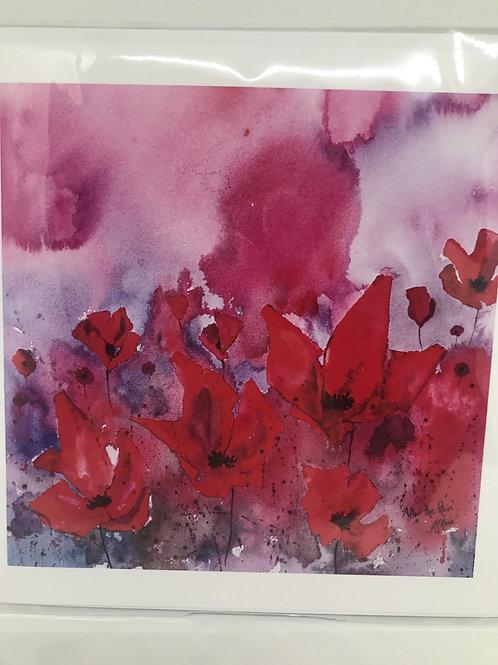 Pink Flowers Card - blank