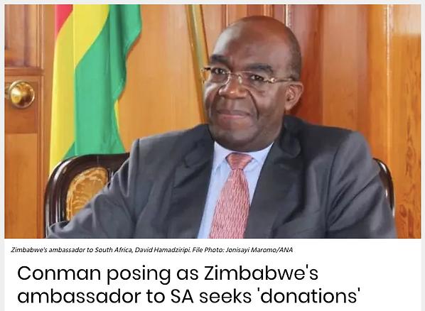 Conman Posing as Zimbbwe's ambassador