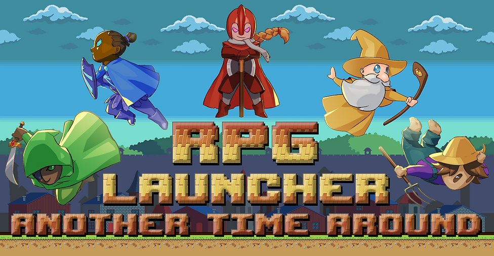 RPGLauncher logo, wizard, farmer, cleric, fighter, sword, staff, thief, dagger, shield, wall, pitchfork, action, mobile game, fantasy