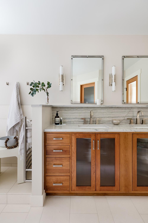 Spa master bathroom, white quartzite