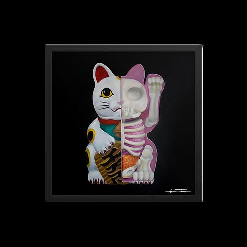Lucky Cat Anatomy || Framed Print Based on Original Painting