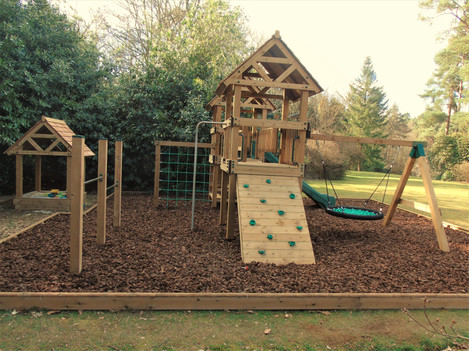 Play Towers With Birds Nest Swing, Fireman's Pole and Climbing Wall