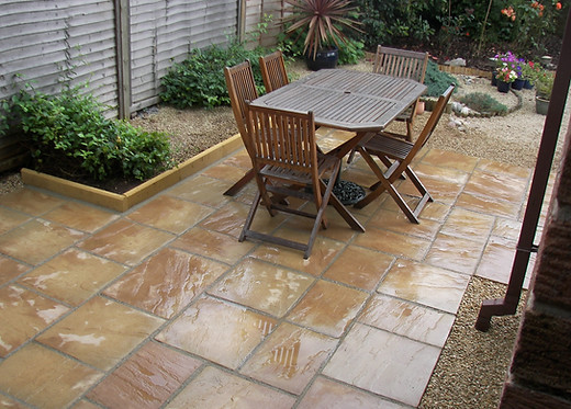 Patio Using Buff Concrete Slabs