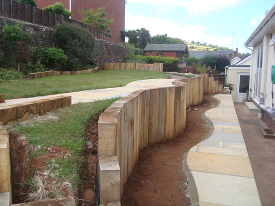 Sandstone Slabs And Planting Area