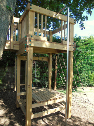 Bespoke play tower with fireman's pole