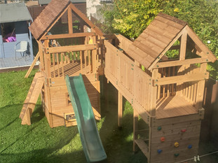 Play Towers With Bridge, Climbing Wall, Slide And Den Underneath