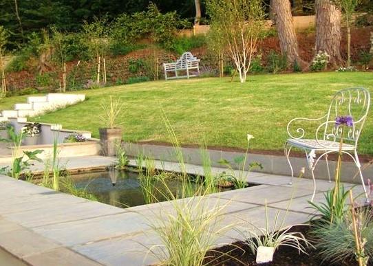 Contemporary Pond & Slate Patio