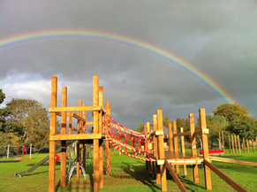 Under construction with rainbow overhead