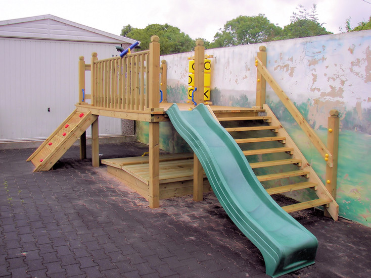 Play Tower With Slide, Climbing Wall and Sandpit