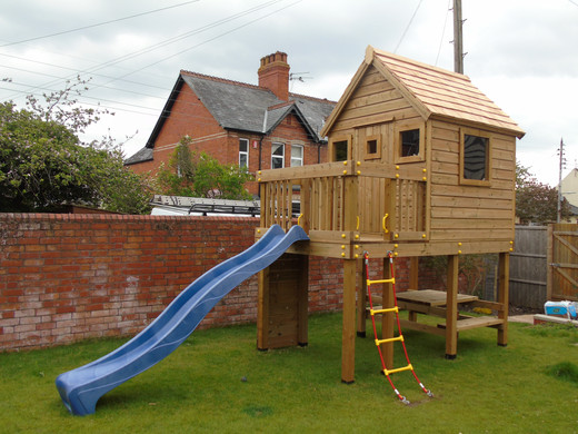 Play tower With Slide, Playhouse,Climbing Wall & Picnic Bench