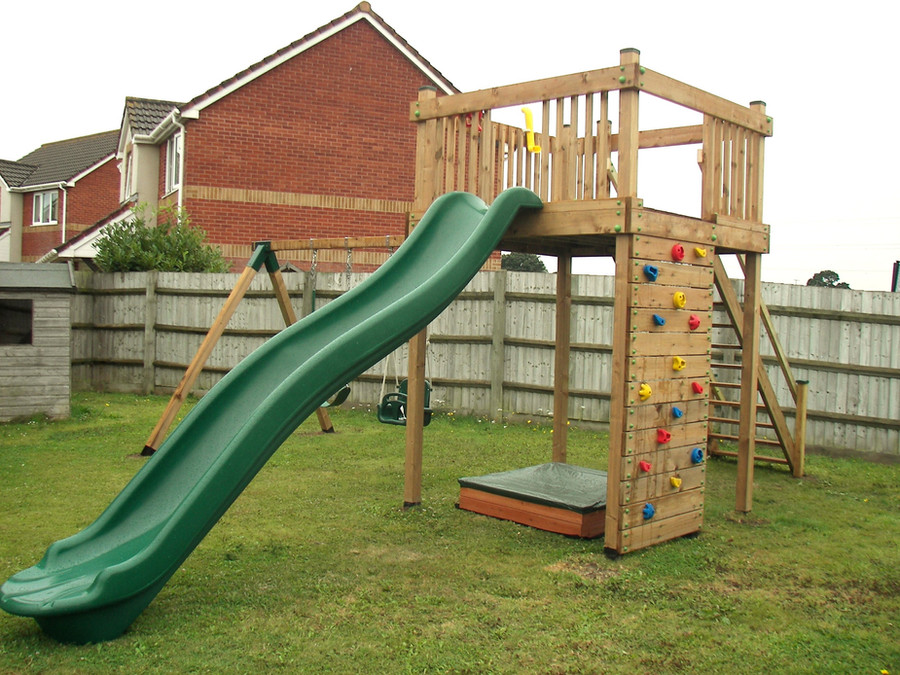 Taunton - Play Tower With Climbing Wall And Slide