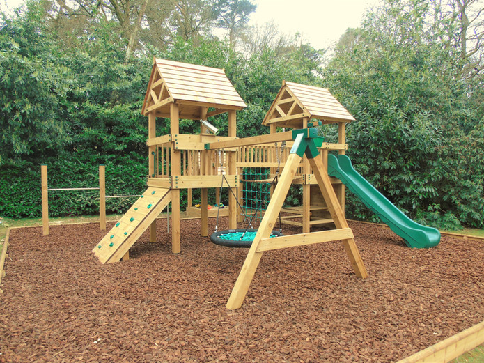 Play Towers With Roll Over Bars, Birds Nest Swing, Slide & Climbing Wall