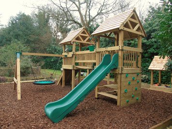 Commercial Birds Nest Swing Added To A Play Tower