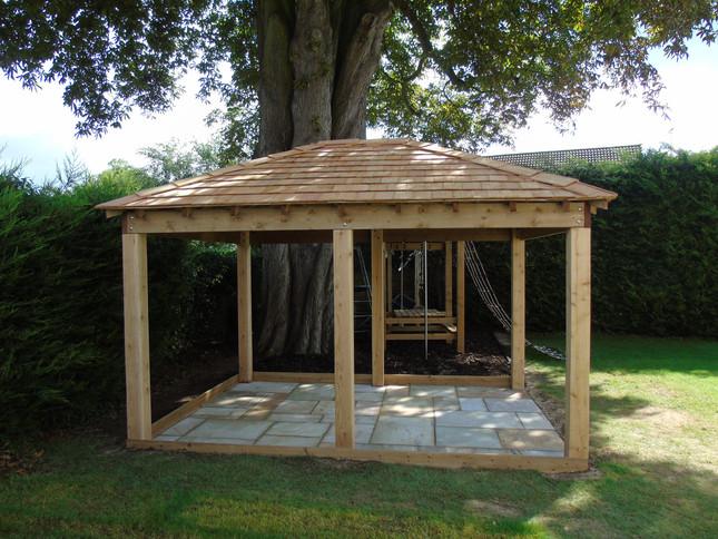 Timber Gazebo With Red Cedar Shingle Roof