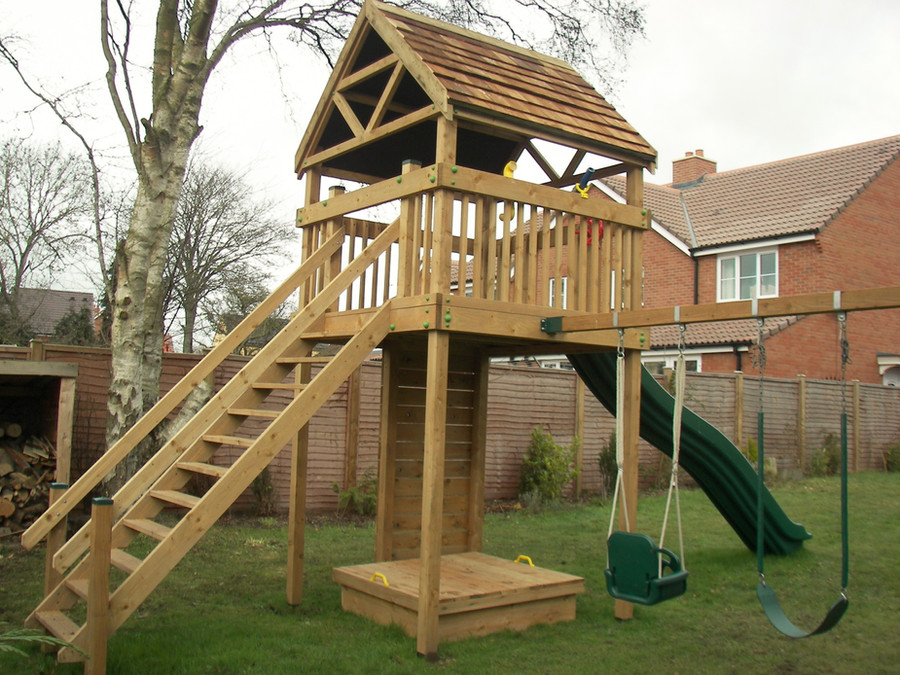 Residential Play Tower With Shingle Roof