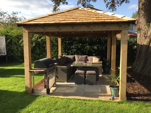 Bespoke Timber Gazebo With Red Cedar Shingle Roof