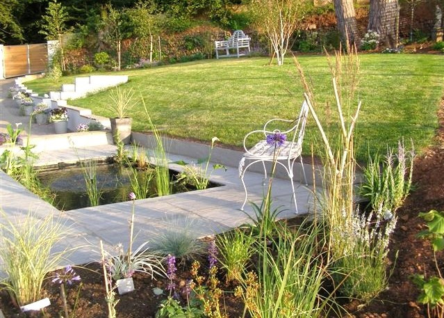 contemporary Pond Project With Planting Around the Edge