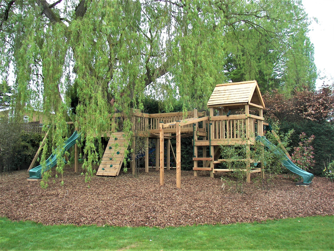 Play Tower With Swing Arms, Slides, Monkey Bars & Climbing Walls